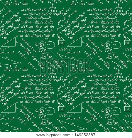 School doodles Supplies Sketchy background, composition. Green Chalkboard. Hand Drawn Vector Illustration. Design Elements. Seamless pattern.