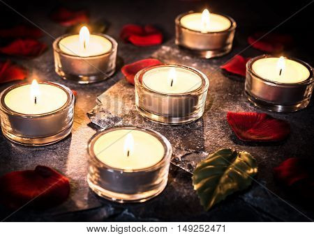 6 Romantic Tea Lights On Slate With Rose Petals And Leafs