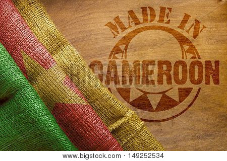 Hot imprint on the wooden surface of the Made in Cameroon.