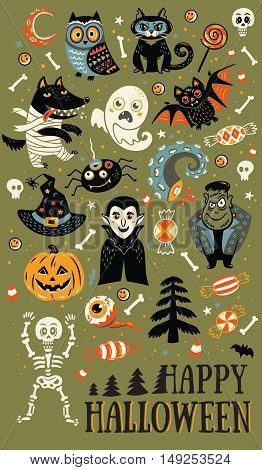 Happy Halloween. Vector set of characters and icons for Halloween in cartoon style. Pumpkin, ghost, bat, candy and owl, cat, wolf, spider, skeleton. Illustration on green background