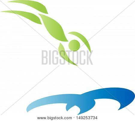 Float, man, water, sports, fitness, water sports logo