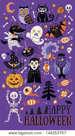Happy Halloween. Vector set of characters and icons for Halloween in cartoon style. Pumpkin, ghost, bat, candy and owl, cat, wolf, spider, skeleton. Illustration on purple background