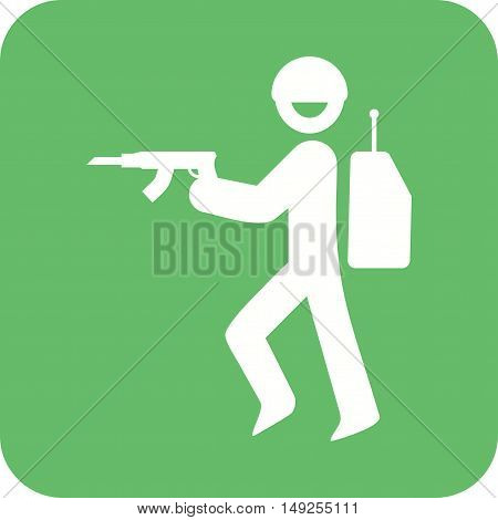 Soldier, army, military icon vector image. Can also be used for people. Suitable for use on web apps, mobile apps and print media.