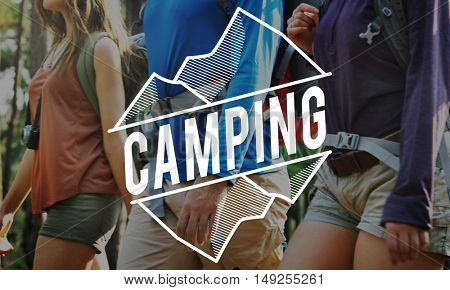 Traveling Journey Camping Forest Adventure Words Concept