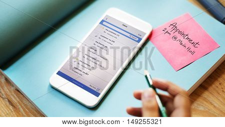 Smart Phone Email Correspondence Note Concept