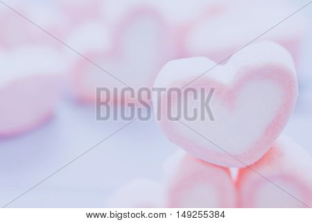 Pink Heart Shape Marshmallow For Love Theme And Valentine Concept. You Can Apply For Background,back