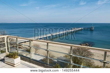 Old pier and sea in Bulgaria Burgas autumn outdoor