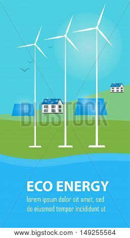 Eco energy vector illustration. Countryside landscape with solar panels and wind turbines. The production of energy from the sun and wind. Alternative electricity source. Green power