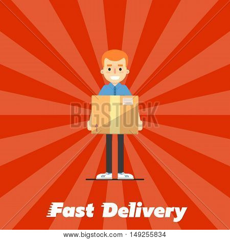 Smiling delivery boy with cardboard box isolated on striped red background. Fast delivery banner, vector illustration. Professional courier service. Shipping and moving. Postman character