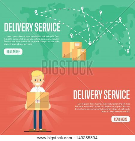 Smiling delivery boy with cardboard box on red background. Cardboard boxes on green background with world map. Delivery service website templates, vector illustration. Shipping and moving.