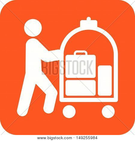Hotel, bellhop, cart icon vector image. Can also be used for people. Suitable for use on web apps, mobile apps and print media.