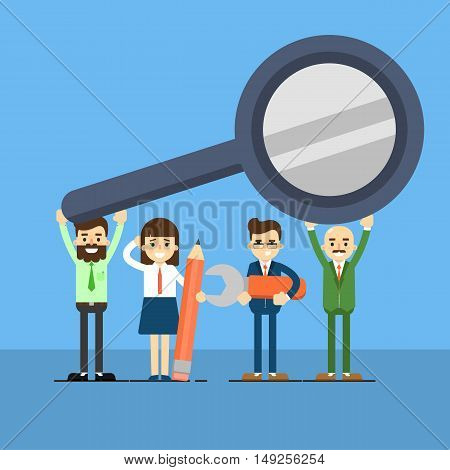 Group of business people holding magnifying glass over head, isolated vector illustration on blue background. Scientific research, analytics and statistics, financial audit banner. Teamwork concept