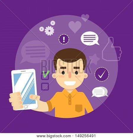 Smiling cartoon boy holding smartphone on perpl background with communication icons, vector illustration. Social media concept. Connecting people, chatting, international network, media app