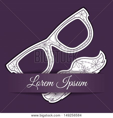 Vector paper background with mustache and glasses