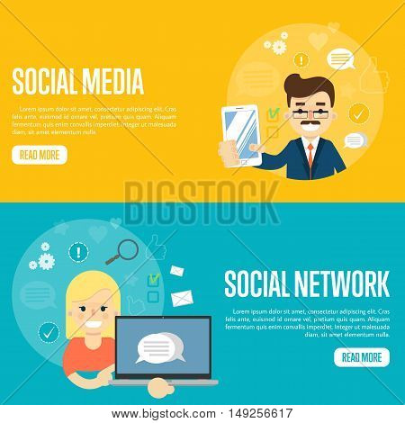 Cartoon man holding smartphone. Smiling girl holding laptop with speech bubbles on screen. Social media network banners, vector illustration. Connecting people, social networking. Virtual marketing