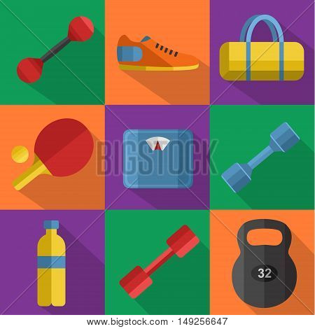 Vector illustration of gym sports equipment icons set. Weight, bag, sports shoes, ping pong paddle, bottle, dumbbell and weigher on color background. Different sport tools. Flat signs with long shadow
