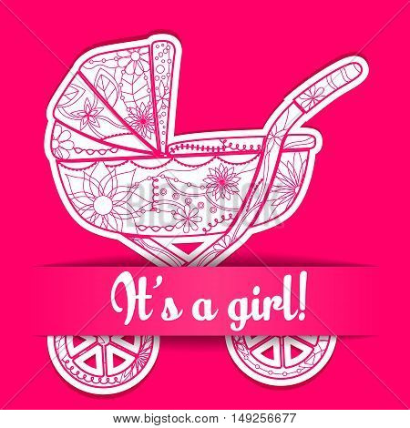Vector paper card it s a girl with baby carriage