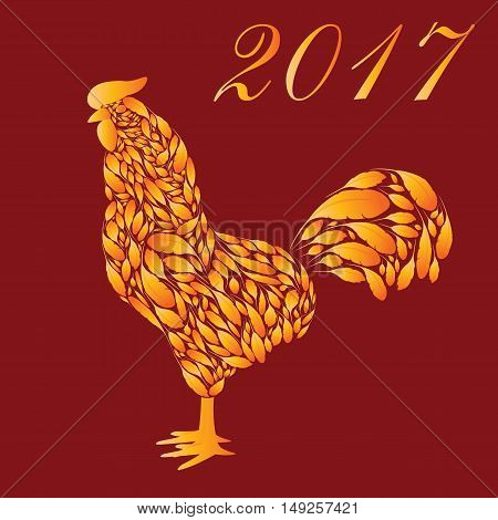 Cartoon Rooster with red fire feathers on a dark red background. Cock the symbol of 2017.