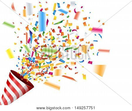Exploding party popper with confetti on white background