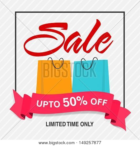 Sale Poster, Banner, Flyer or Pamphlet with Discount Upto 50% Off for Limited Time Only, Shopping Bags and pink Ribbon.