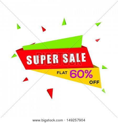Colorful creative, Super Sale Tag with Flat 60% Discount Offer, Can be used as Poster, Banner or Pamphlet Design.