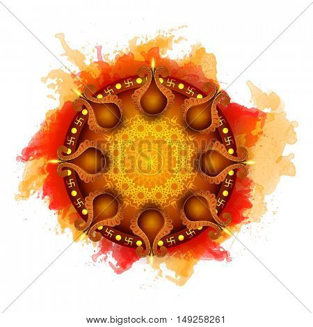 Glossy Illuminated Oil Lit Lamps on Pooja Thali (Worship Plate), Beautiful Greeting Card, Vector Illustration for Indian Festival of Lights, Happy Diwali Celebration.