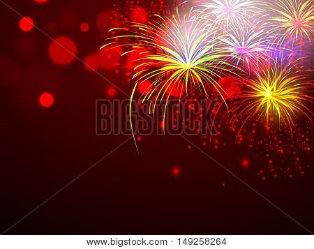Beautiful festive holiday background with firework explosion or blast over night sky, Elegant sparkling vector illustration.