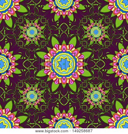 Seamless floral mandala pattern in pink turquoise green and pale orange on floral lilac background.