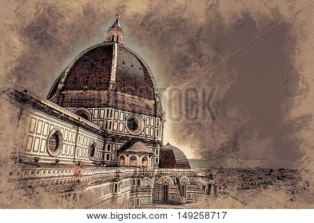 The Basilica di Santa Maria del Fiore Basilica of Saint Mary of the Flower in Florence, Italy. Modern painting, background illustration