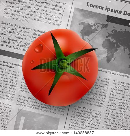 red tomato on old vintage newspaper background