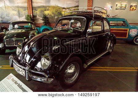 El Segundo, CA, USA - September 26, 2016: Black 1959 Volkswagen Beetle is displayed at the Automobile Driving Museum in El Segundo, California, United States. Volkswagen means people's car in German. Editorial use only.