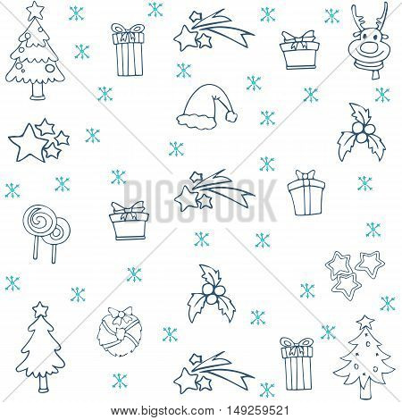 Collection stock christmas set doodle vector art