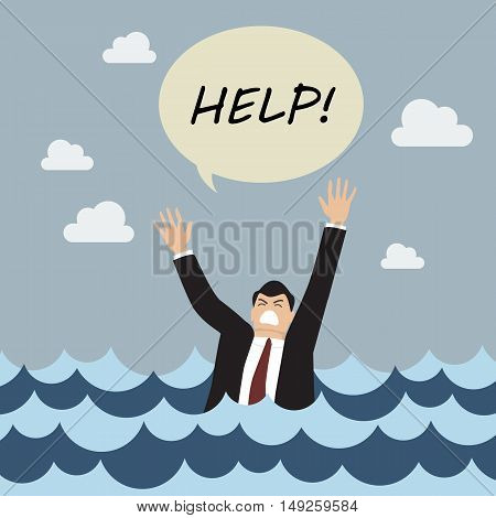 Drowning man screaming for help. Business concept