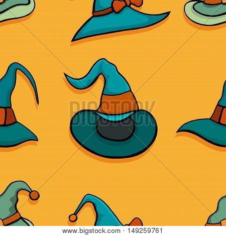 Halloween vector seamless pattern with witch hats. Endless decorative texture.