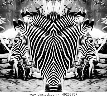 painting and drawing zebras in black and white