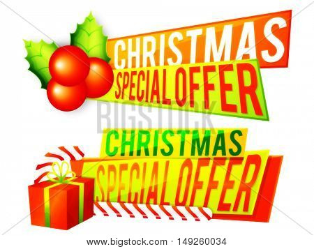 Christmas special offer sale banner set with xmas elements on white background.