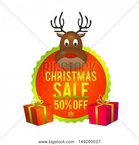 Christmas Sale with 50% Disount Offer. Creative sticker, tag or label design.