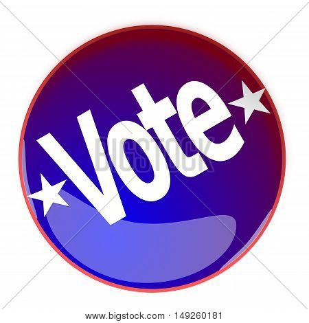 Illustration of a glossy Vote button in blue and red on a white background