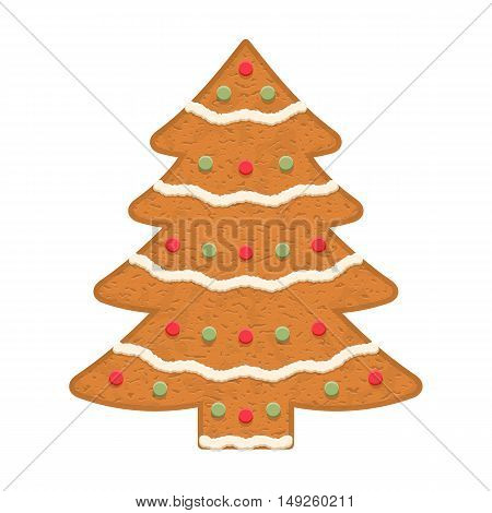 Gingerbread Christmas tree, traditional Christmas cookie, vector eps10 illustration