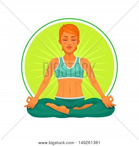 Vector illustration of a girl yoga in the lotus position. Illustration made in cartoon style.