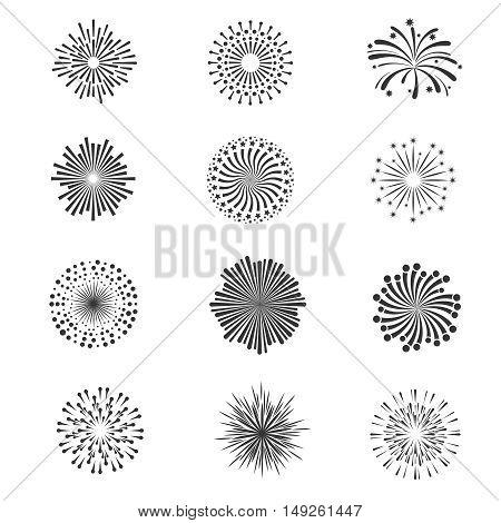 Festive fireworks, star explosion vector collection. Monochrome fireworks for celebration holiday illustration
