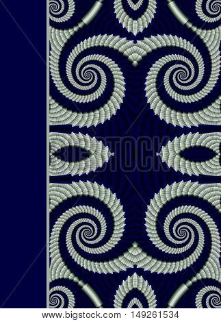 Design of beautiful spiral blue ornamental notebook cover