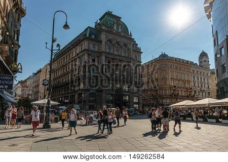 Vienna Austria 25th August 2016 - Stephansplatz plaza with old gothic buildings and tourists visiting