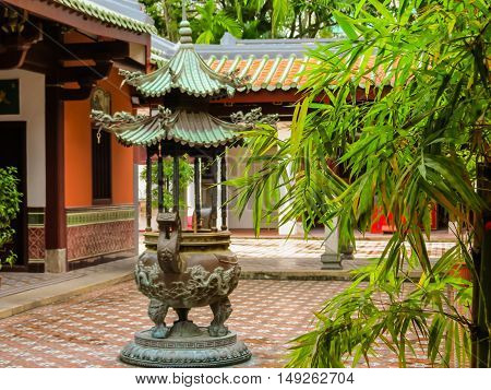 Courtyard of Chinese Buddhist Temple. Selective focus