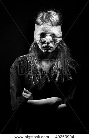 Blind Terrified Woman