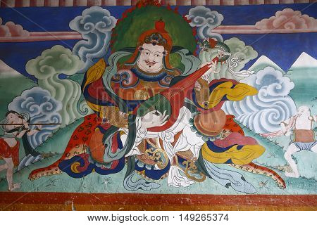 Ancient Wall Painting In The Tashichho Dzong