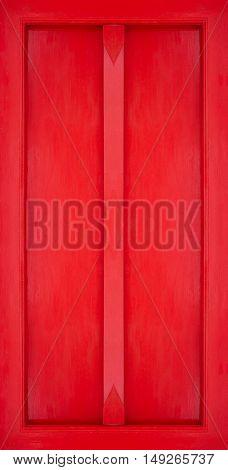 Red Buddhist Temple Door, Wooden Door With Red Painted