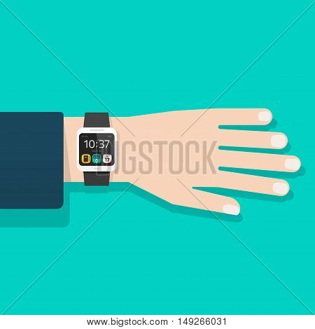 Man hand with smart watch vector illustration isolated, black digital clock on business man wrist, flat cartoon modern smart wristwatch on male hand