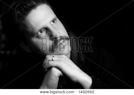 Thoughtful Married Man (B&W)
