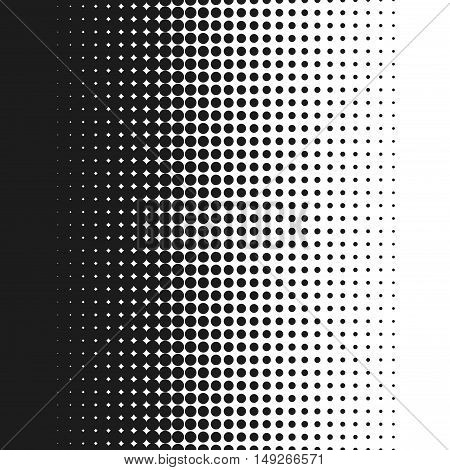 Dotted background vector illustration, white and black halftone gradient, vertical seamless dotted lines, monochrome dots texture backdrop, retro effect